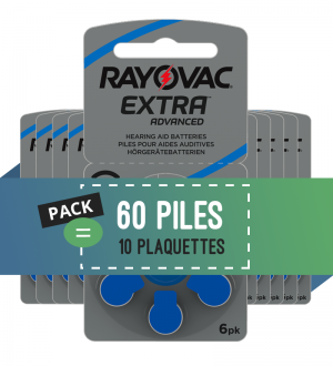 Piles auditives 675 - Rayovac - Lot de 60 piles