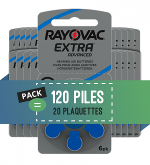 Piles auditives 675 - Rayovac - Lot de 120 piles
