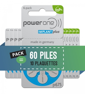 Power One - Implant cochléaire - Piles auditives 675 - Lot de 60 piles