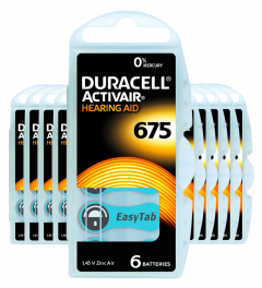 Piles auditives 675 - Duracell - Lot de 60 piles