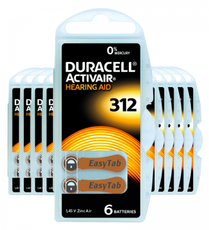 Piles auditives 312 - Duracell - Lot de 60 piles