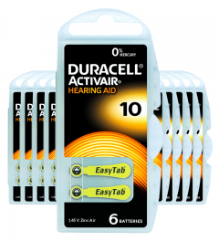 Piles auditives 10 - Duracell - Lot de 60 piles