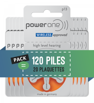 Piles auditives 13 - Power One - Lot de 120 piles