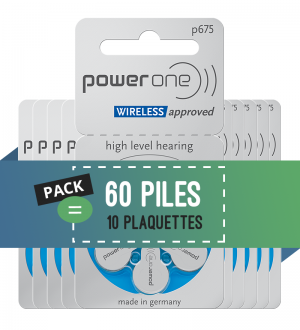 Piles auditives 675 - Power One - Lot de 60 piles