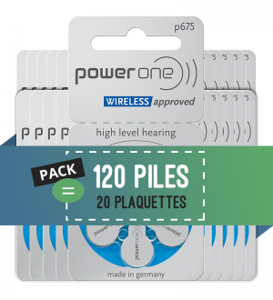 Piles auditives 675 - Power One - Lot de 120 piles