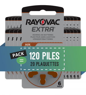 Piles auditives 312 - Rayovac - Lot de 120 piles